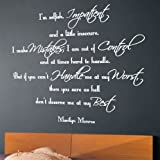 "Wandtattoo, Motiv: Zitat von Marilyn Monroe ""I Am Selfish, Impatient..."" M dunkelgrau"