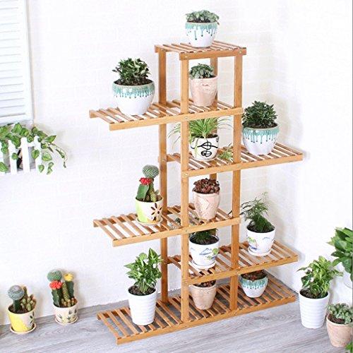 6-tier-bücherregal (6 Tier Asymmetrie Bambus Blumenständer Holz Balkon Blumentopf Rack Multi - Storey Treppenhaus Stand Stand)