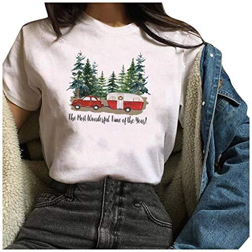 yazidan Damen Weihnachten T-Shirt Frauen Kurzarmshirt Santa Drucke Merry Christmas Basic Fun Christmas Xmas Tops Christmas Tee Shirt Blusen Oberteile