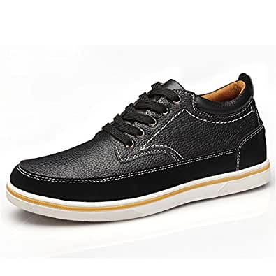 ailishabroy Men's Genuine Leather Shoes Elevator 2.36 in Flats for Men Casual Lace Up High Increased Shoe (37 EU, Black)
