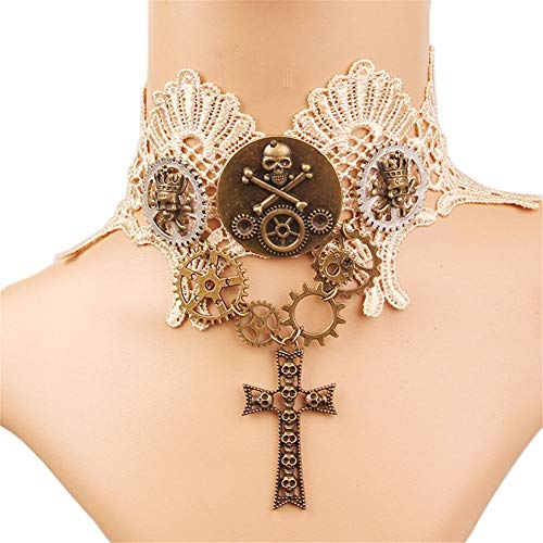 OOFAY Gothic White Lace Women es Neck Chain, Retro Adjustable Hollowed Collarbone Chain Chain Punk Pendant Necklace for Festive Prom Party