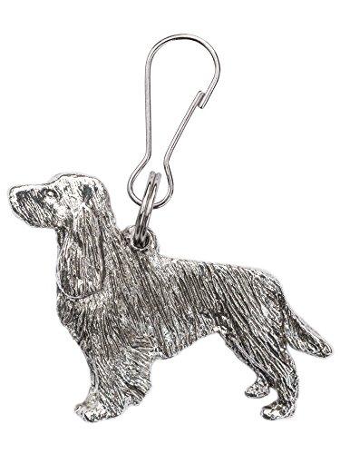 English Cocker Spaniel (mit Schwanz) Hergestellt in U.K. Kunstvolle Hunde- Reißverschlußanhänger (Zipper pull) Sammlung (Spaniel Hund-figur Springer)