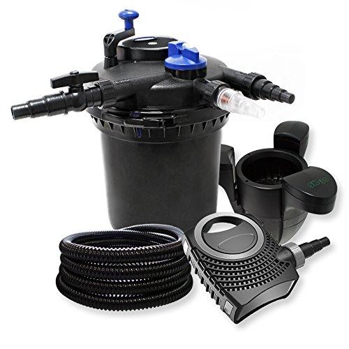 Kit de Filtration à Pression: 30000l Filtre, 18W UVC Stérilisateur, 70W Pompe, 25m Tuyau et Skimmer