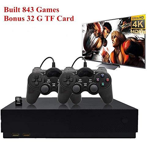 Workingda Retro-Spielekonsole, 32 GB 4K HDMI TV-Ausgang Unterhaltungssystem Videospielkonsole Eingebauter 843 Classic Game Player mit 2PCS Joystick