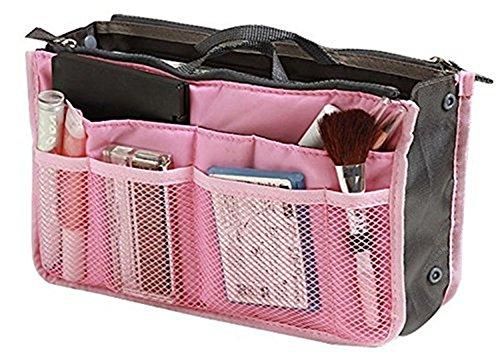 Cosanter Damen Handtasche Organizer Liner Tidy Reise Kosmetiktasche Insert 12 Große Taschen Pink
