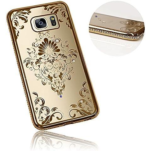Xtra-Funky Serie Samsung Galaxy S7 PLUS Sottile Custodia in Silicone con Cristallo Scintillante Bordatura & Damasco Floreale - Oro