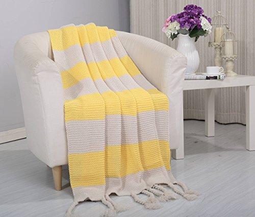 Urlaub Königin Tröster (Soft Touch Classic Woven Strick zweifarbig Überwurf Decke mit Fransen (127x 152,4cm) gelb)