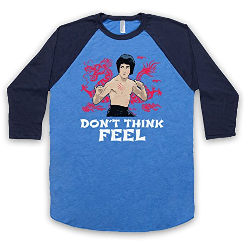 Bruce Lee Don't Think Feel 3/4 Manches Retro T-Shirt de Base-Ball