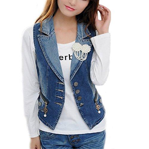506fc343a96e4c Frauen Denim Weste Mode Perle Brosche Zipper Pocket Jeans Westen weiblichen  schlanken Körper alle Spiel Jeansweste Blue L
