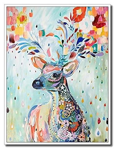 Haehne Modern Cerf coloré Toiles en coton Impression Oeuvres Peintures à l'huile Photo Imprimé sur toile Art mural pour les décorations maison à la chamber, 50 *75cm(20 *30Inch), Avec cadre