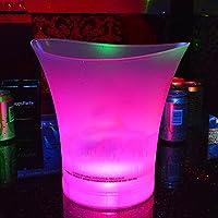 Led Seau à glace dégradé de 7couleurs changeantes lumineuse Plastique Champagne Vin boissons Cooler Seau, 5L de bière Vin Seau à glace pour clubs de KTV Bar MAISON fête de mariage, As Picture Show, 5 l