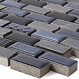 Mosaikfliesen Keramik Naturstein Mix Carbonera Schwarz Brick | Wandfliesen | Mosaik-Fliesen | Glasmosaik | Fliesen-Bordüre | Ideal für die Küche und Badezimmer (auch als Muster erhältlich)