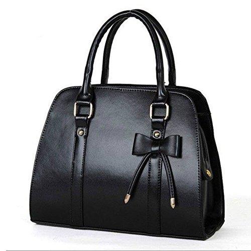 F-eshion Tasche für Frauen PU-Leder Hobo Messenger Handtasche Umhängetasche mit Schleife (Hobo-schleife)