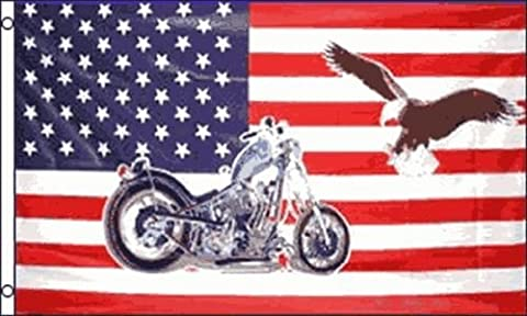 USA Motorcycle & Golden Eagle USA America 5ft x3ft (150cm