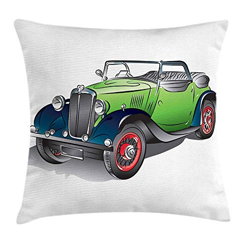 Jolly2T Cars Throw Pillow Cushion Cover, Hand Drawn Convertible Vintage Green Car with Colorful Rims Retro Vehicle Design Print, Decorative Square Accent Pillow Case, 18 X 18 inches, Green Gray Maroon Rim