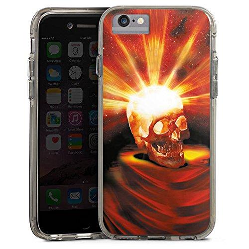 Apple iPhone 6s Bumper Hülle Bumper Case Glitzer Hülle Totenkopf Skull Halloween Bumper Case transparent grau