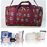 Pre-packed Essentials hospital bag/maternity/holdall for Mum & Baby - burgundy owl design