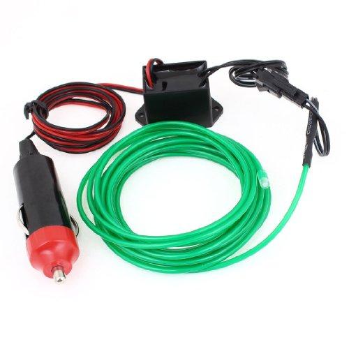 Caricabatteria per auto - SODIAL(R) Auto 9.8ft verde decorativo EL Wire Neon luce di incandescenza con Caricabatteria per auto 1M