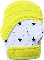 VIVOSUN Baby 2er Set Zahnen Handschuhe Schmerzlinderung Fäustling BPA Frei Silikon Zähne Beißring Zahnungshilfe für Neugeborenen Sterne