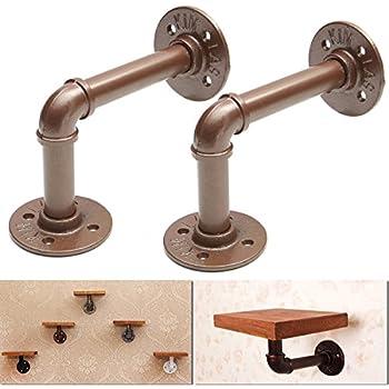 king do way 2pcs steel shelf brackets brown 12x17cm industrial shelf bracket steampunk for book shop