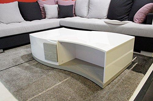 Meubletmoi Table basse laquée - BLANC et GRIS - design moderne - salon rangement - BELUGA