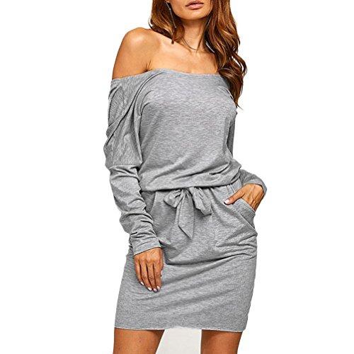 Elecenty Damen Kleid Rückenfrei Blusekleid Sommerkleid Solide Rock Mädchen Taschen Elastisch Kleider Frauen Mode Minikleid Langarm Kleidung Abendkleider Partykleid Hemdkleid (L, Grau) (Muster Baumwolle Solide)