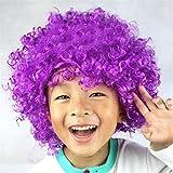 Dosige Fanático del fútbol Peluca de payaso Peluca de pelo adultos adulto mascarada partido del pelo de Halloween Navidad Cosplay sombrero traje peluca(Púrpura)