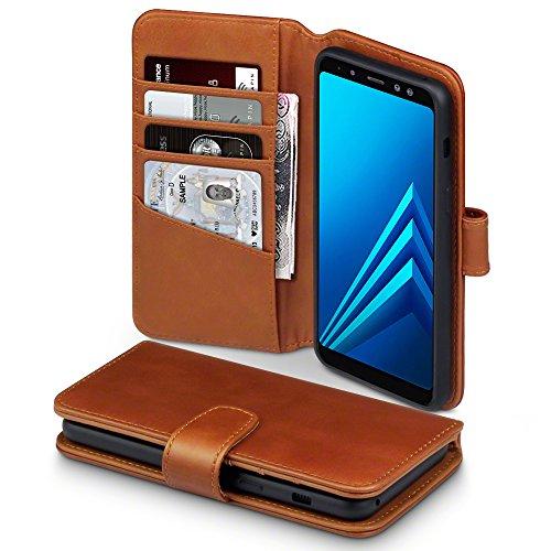 Terrapin, Kompatibel mit Samsung Galaxy A8 2018 Hülle, Premium ECHT Leder Flip Handyhülle Samsung Galaxy A8 2018 Tasche Schutzhülle - Cognac EINWEG