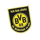 BVB Aufnäher mit Schriftzug, Polyester, Schwarz / Gelb, 11 x 9 x 1 cm