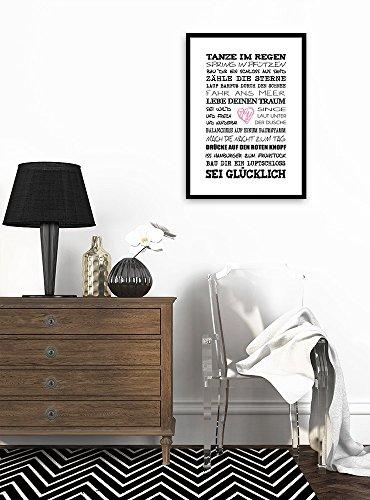 artissimo, Spruch-Bild gerahmt, 51x71cm, PE6001-ER, Tanze im Regen, Bild, Wandbild mit Spruch, Spruch-Poster mit Rahmen, Geschenk-Idee, Wand-Deko, Plakat, Kunst-Druck, Typographie, Text, Schrift,