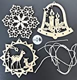 molinoRC 3X Fensterbild Holz | Holzanhänger | Weihnachtsschmuck | Christbaumanhänger | Holz Anhänger | Fensterdeko Weihnachten | Set 1 Schneeflocke + Rehe + Glocke mit Kerzen | 8cm Durchmesser
