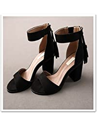 GTVERNH-Commuter Avec 5-8Cm Brut Talons Mode Identique Des Chaussures Confortables Printemps Arc Une Boucle De Chaussures Trente - Six Argenté CN8wth