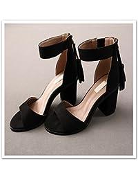 GTVERNH-Commuter Avec 5-8Cm Brut Talons Mode Identique Des Chaussures Confortables Printemps Arc Une Boucle De Chaussures Trente - Six Argenté