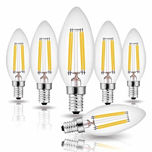 6er Pack Hohe CRI 90+ E14 Kerze LED Lampe für Kronleuchter, E14 Glühfaden Retrofit Classic, 4W 470 Lumen ersetzt 40 Watt, 2700K Warmweiß, Filament Fadenlampe, Glas, nicht dimmbar, 2 Jahre Garantie -