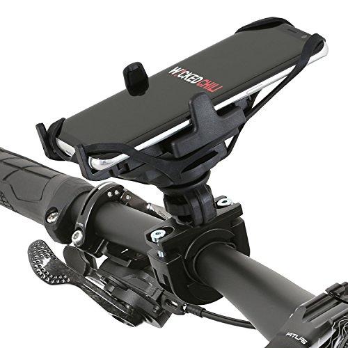 Wicked Chili Universal Fahrrad / Bike Handyhalterung mit Sicherungsband für Apple iPhone 7 / 6S / 6, Samsung S8 / S7 / S6 / A5, Huawei P10 / P9, LG G6 / G5 etc. (Schnellverschluss, Made in Germany)