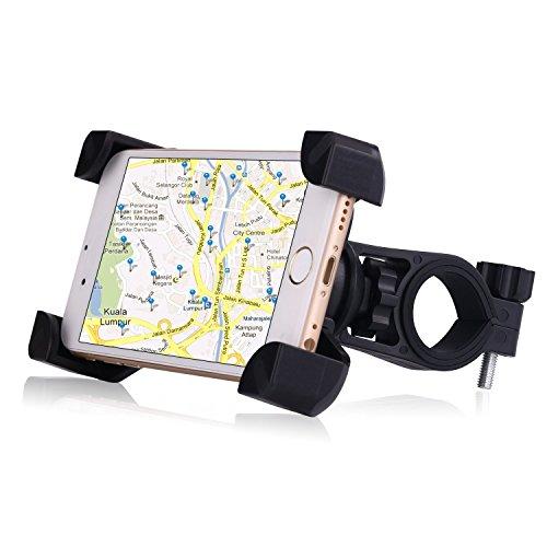 Bike phone Mount, dtrigigo Universal Handy Bike Mount & Motorrad Halter Wiege, einfach installieren und 360Drehen für 7,6cm zu 17,8cm Handy und GPS-Gerät, Schwarz Farbe