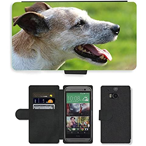 PU Flip Carcasa Funda de Cuero Piel Cubre Case // M00133651 Cane Capo Close Parson Russell Terrier // HTC One M8