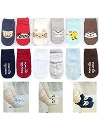SET MIGNON DE 6 enfant ENTRAÎNEMENT Animal BABY chaussettes antidérapantes 3-12 Mois ou 12-24 MOIS