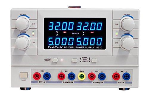 Preisvergleich Produktbild PeakTech 2-Kanal Linear-Geregeltes DC Labornetzgerät - 2x0- 30V / 5A DC - 5 V/1 A Festspannung mit Sicherheitstrafo, 1 Stück, P 6210
