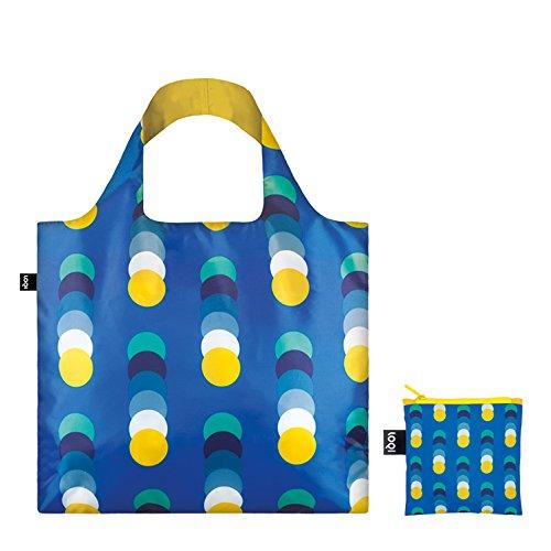 LOQI GEOMETRIC Bag - Einkaufstasche Reise-Henkeltasche, 50 cm, Stripes Circles New