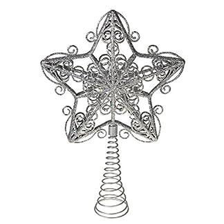 Clever-Creations-Weihnachtsbaumspitze-in-Sternform-Festliche-Weihnachtsdeko-bruchsicherer-Kunststoff-und-Metall-fr-Weihnachtsbume-jeder-Gre-Silberfarben-Metallic-254-cm
