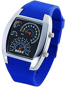 Panegy Studenten Armbanduhr Unisex LED Digitaluhr mit Legierung Uhrgehäuse Fashion 5ATM Wasserdicht Uhr mit Cool...