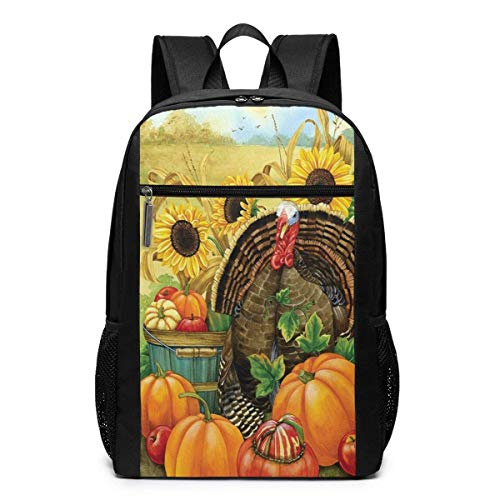 TRFashion Rucksack Vintage Thanksgiving Turkey Pumpkin 17 Inch Outdoor Canvas Travel Hiking Laptop Backpack Schoolbag Book Bag for Men Women Black (Coach Book Bag)