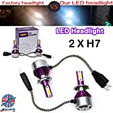 Latest LED H7 Headlight Bulbs DRL Driving Lamps Super Bright Car Conversion Bulb - 2 sides Super Bright LED Chips - Pair Set with 2 Years Guarantee
