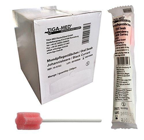 Mundpflegestäbchen Wattestäbchen Geschmack Johannisbeere Box a 250 Stck Mundhygiene Tiga-Med einzeln hygienisch verpackt