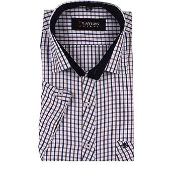Players Men's Cotton Half Sleeves Check Shirt, Brown (SKU0523_38)