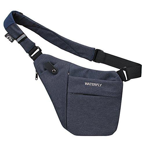 Flache Umhängetasche (WATERFLY Crossbody Sling Bag Herren Und Damen, Schultertasche Mit Großer Kapazität Leichte Leicht Und Einfach Zu Tragen Brusttasche Multi-Pocket-Rucksack)