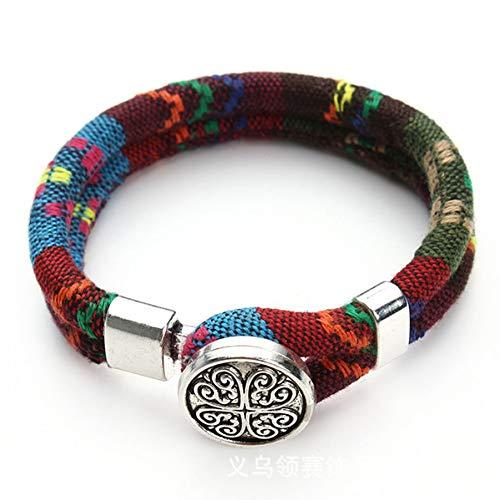 XIHUANA Bohemian Snap Button Bracelet Multicolor Cotton Cords Tibetan Silver Color Ethnic Charm Flower Boho Bracelet Cord-snap