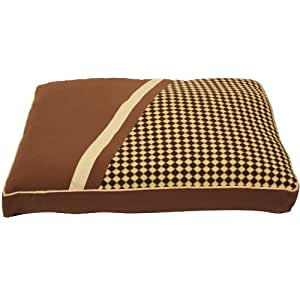 Mool Rectangular Flat Cushioned Dog Bed, Width: 90 cm (35 inches), Brown/ Check