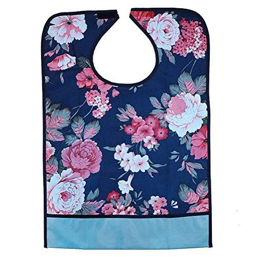 ULTNICE Lätzchen für Erwachsene Kleidungschutz waschbar Senioren Essschürtz (Hibiscus)